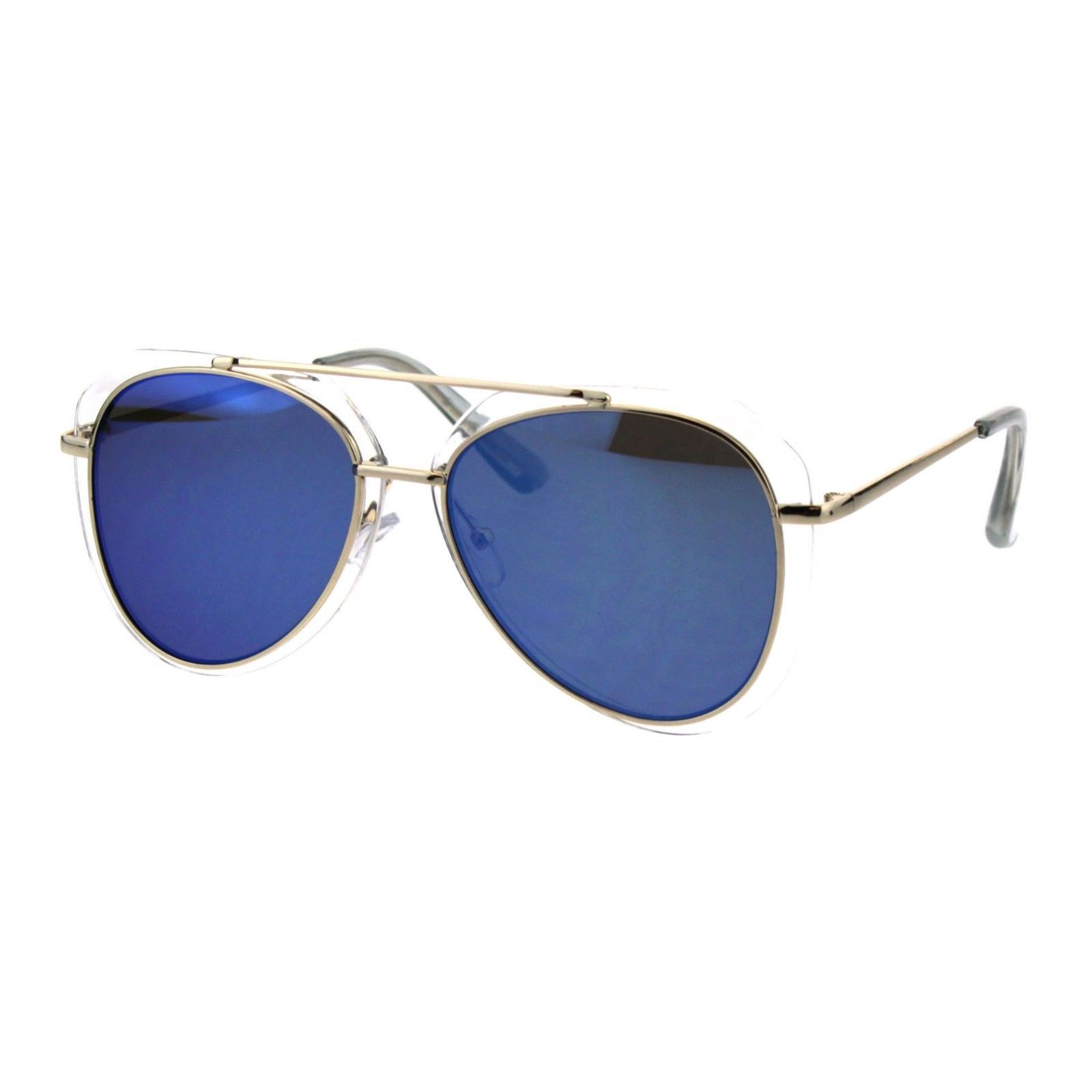 Womens Aviator Sunglasses Clear Outline Double Frame UV 400