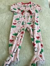 Child Of Mine Girls Pink Penguins Santa Trees Fleece Long Sleeve Pajamas 2T - $5.95