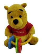 "Winnie the Pooh Rattle Keys Shaker Toy Disney Pooh Stuffed Animal 5"" Sitting - $12.73"