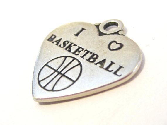 Sterling silver 925 i love basketball pendant