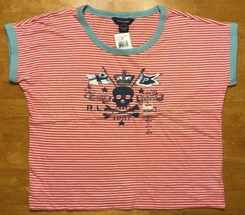 Primary image for NWT Ralph Lauren Girl's Red Striped Blue Trim Pirate Shirt Size Large 12/14