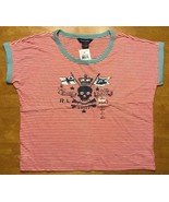 NWT Ralph Lauren Girl's Red Striped Blue Trim Pirate Shirt Size Large 12/14 - $17.81