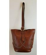 Two Bar West Tote Handbag Leather Western Southwest Silver Studs Pocket ... - $229.98