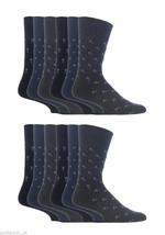 12 Pairs Mens Gentle Grip Socks Size 6-11 Uk, 39-45 Eur MGG43 B/N/G Square - $17.14
