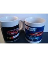 Lot of 2 White NASCAR Sports Racing Cars Driving Speeding Track Coffee Mugs - $9.50