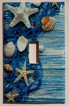 Fishnet Seashells Starfish Ocean Light Switch Outlet Wall Cover Plate Home Decor image 1