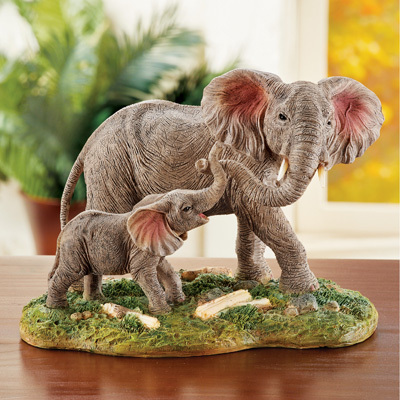 Mother and Baby Elephant Tabletop Figurine