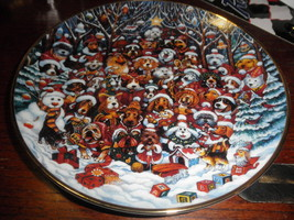 SANTA PAWS FRANKLIN MINT BILL BELL HEIRLOOM 8 inch  PORCELAIN PLATE deco... - $22.72