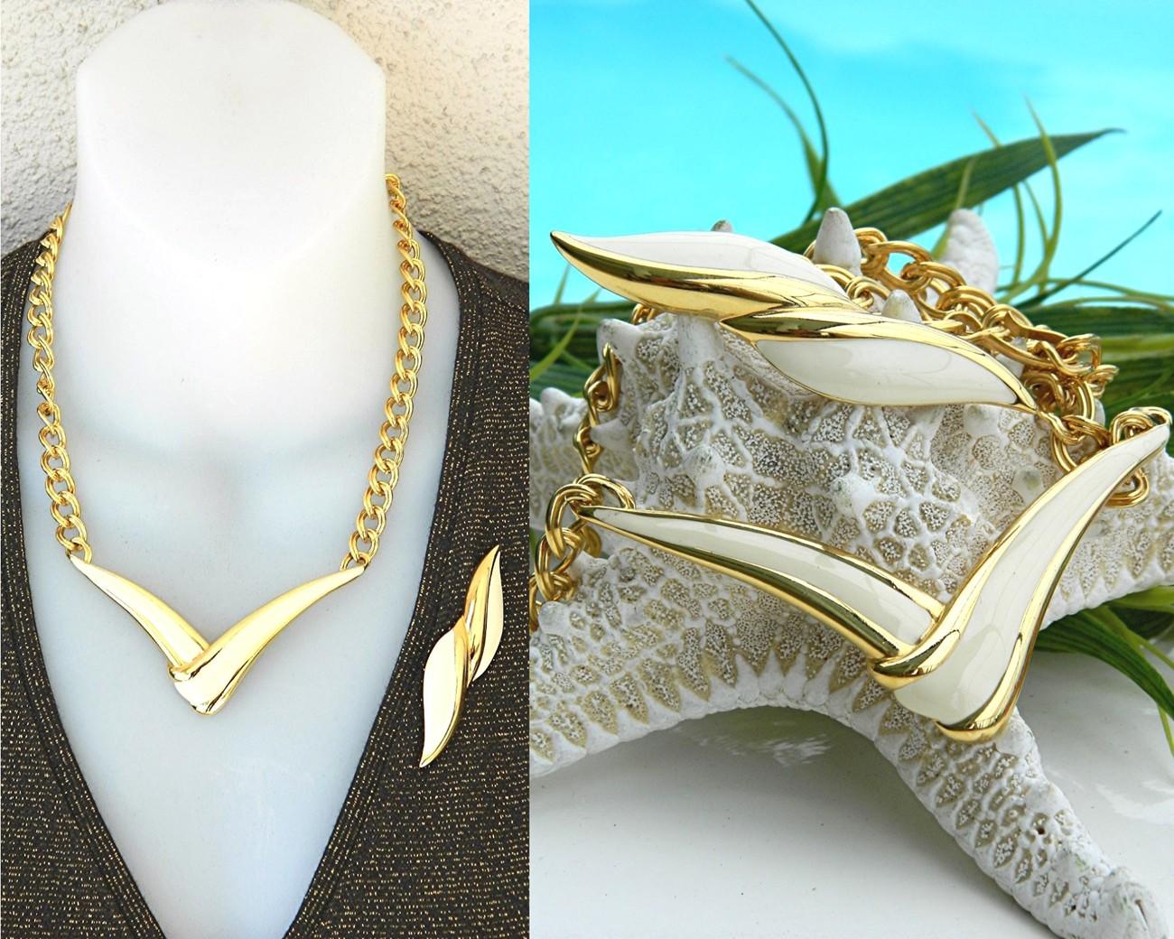 Vintage Monet Modernist V Necklace Brooch Gold Cream Enamel