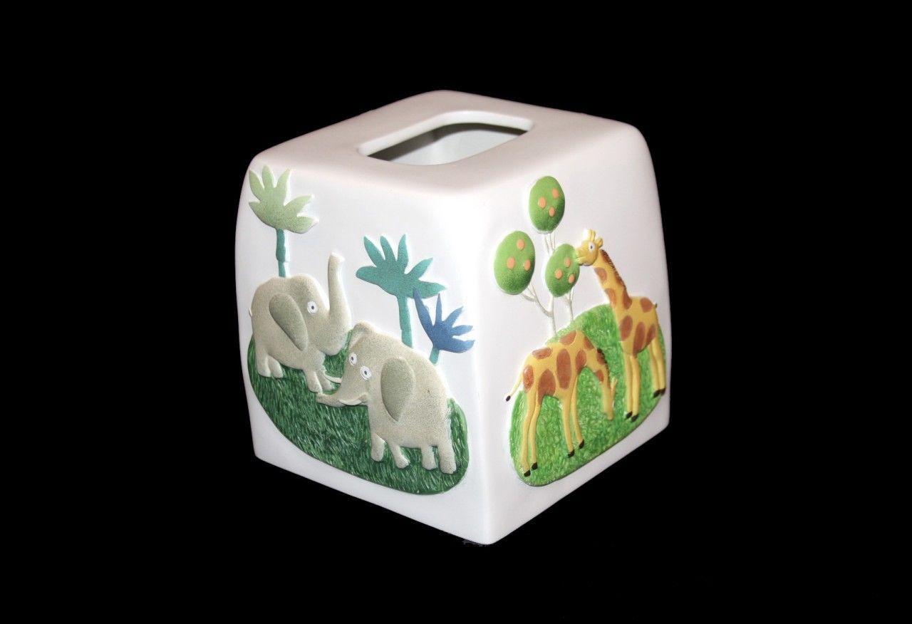 Challis and Roos ZOO PARK Elephants Giraffes Trees Heavy Tissue Box Cover NWT - $24.99