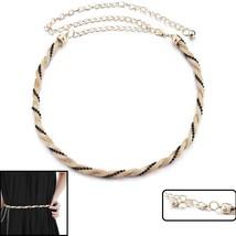 Women Girls Mesh Chain Charm Waist Belt With Black Pearl For Wedding Dre... - $7.43