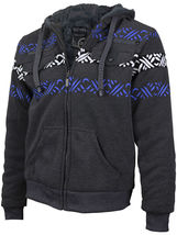 EKZ Men's Graphic Geo Tribal Fleece Lined Zip Up Sherpa Hoodie Jacket image 5