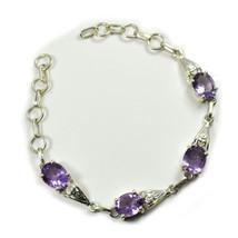 Genuine Amethyst Silver Bracelet Purple Oval Gemstone Jewelry For Women ... - $55.04