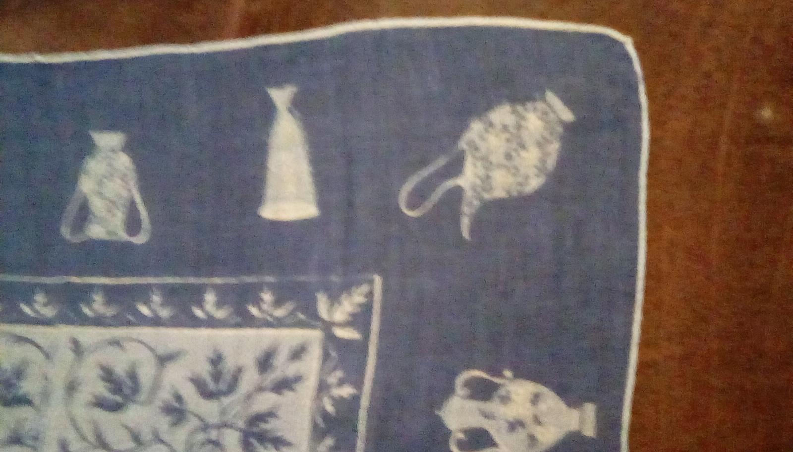 Faith Austin Handkerchief EUC Blue Urn Print image 4