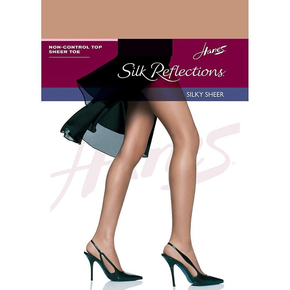 Hanes Silk Reflections Plus Knee Highs Enhanced Toe One Size 8 Colors to Choose