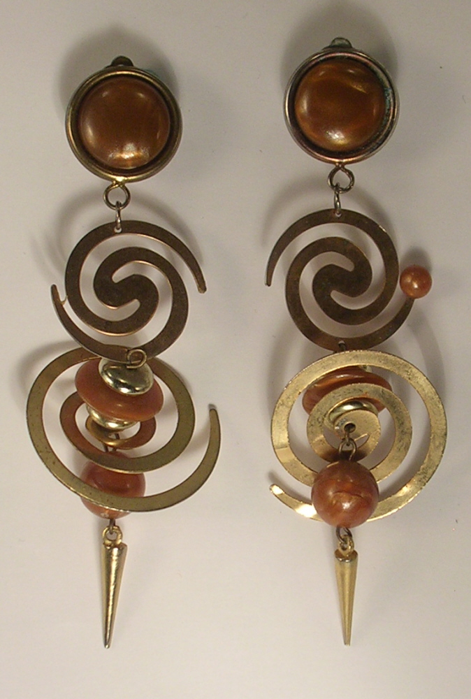 Clip On Earrings of Brown Imitation Beads and Gold Colored Metal Spirals