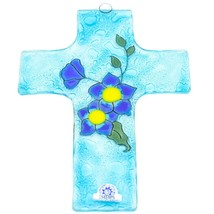 Handmade Fused Art Glass Forget Me Not Floral Flower Cross Hanging Sun Catcher image 2