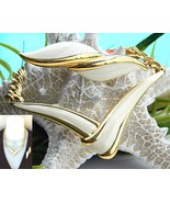 Vintage Monet Modernist V Necklace Brooch Gold Cream Enamel - $36.95