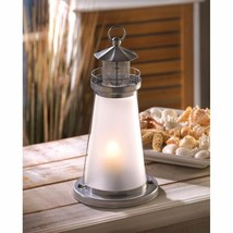 """6 Lookout Lighthouse Candle Lanterns Silver w/ Frosted Glass 10"""" High - $74.20"""