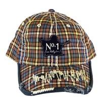 NEW TRUE RELIGION UNISEX DISTRESSED BUDDAH PLAID TRUCKER HAT CAP BROWN TR1503