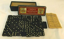 Crown Dominos The Embossing Company 28 Wooden Pieces All with logo USA - $14.99