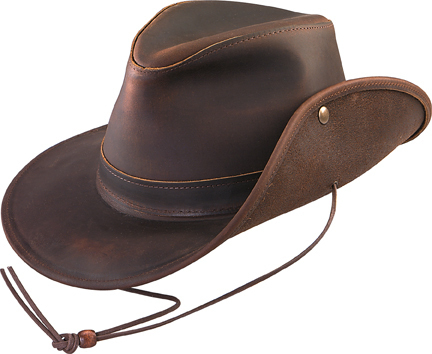 Primary image for Henschel Full Grain Leather Safari Hat Snap Up Brim Made In USA  Black Brown
