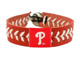 MLB Philadelphia Phillies Team Color Leather Baseball Bracelet - $12.99