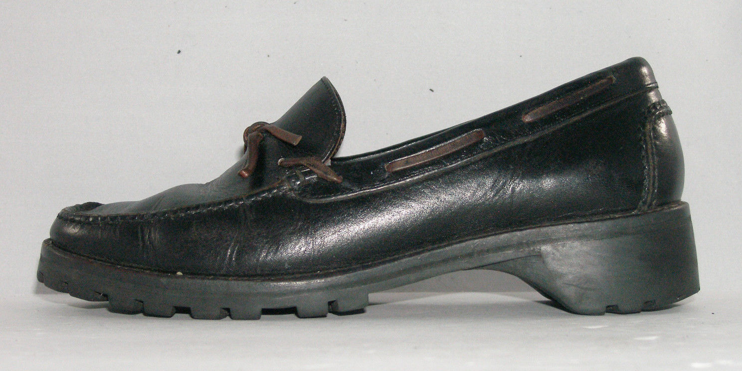 055ef5ccb1c Cole Haan Country D10787 black womens Mocassin Toe Boat loafers shoes 6M
