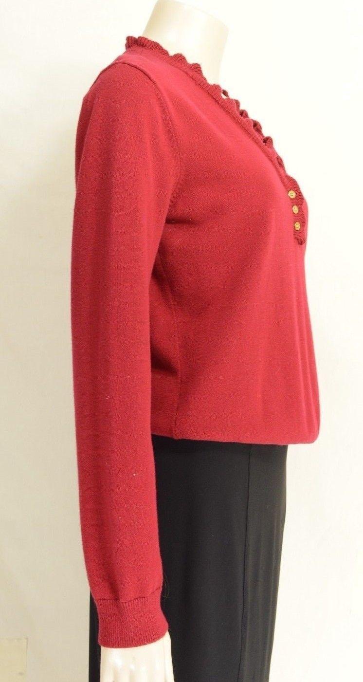 Ralph Lauren sweater SZ M 100% cotton knit red gold buttons long sleeve.