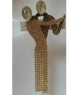 "Vintage Clear & Black Pave Rhinestone Dancing Couple Brooch  5.25"" Long - $24.26"
