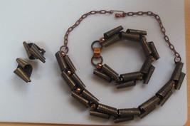 Unique Vintage Curled Copper/Brass Necklace, Bracelet & Clip-On Earring Set - $57.92