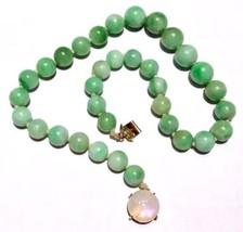 65g! Art Deco 14k gold Chinese no dye Jadeite Moonstone Necklace - $3,087.50