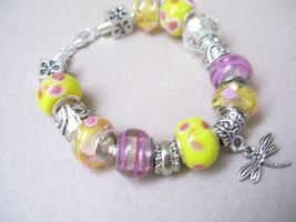 Pink and Yellow Sherbet Dragonfly Bracelet - $7.00
