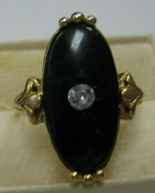 Avon ring with black stone has clear rhinestone in center size 5 1/2 image 2