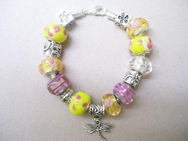 Pink and Yellow Sherbet Dragonfly Bracelet