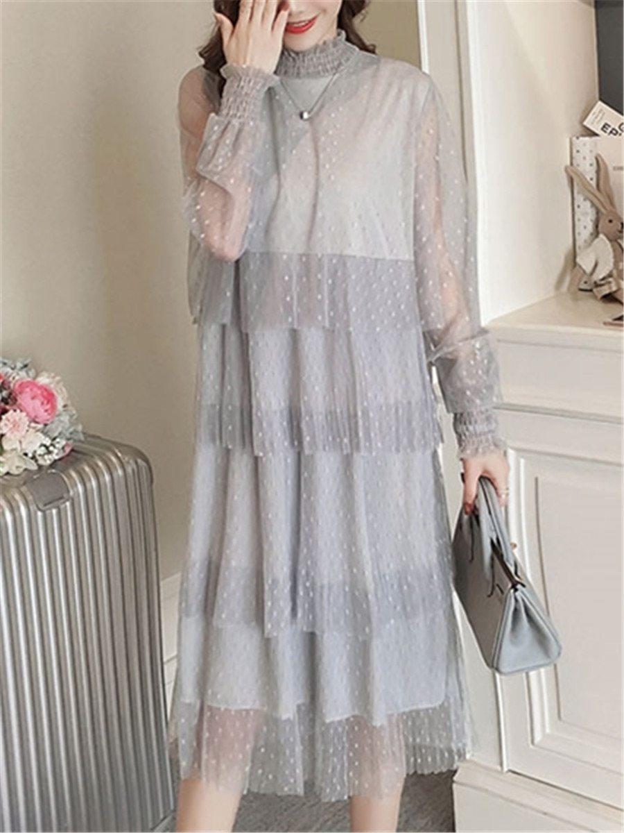 Maternity Dress Long Sleeve Fashionable Layered Dress image 3