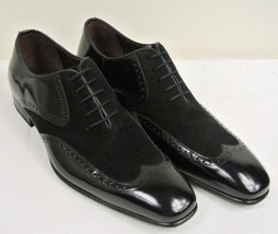 Handmade Men's Black Leather and Suede Wing Tip Oxford Shoes image 3