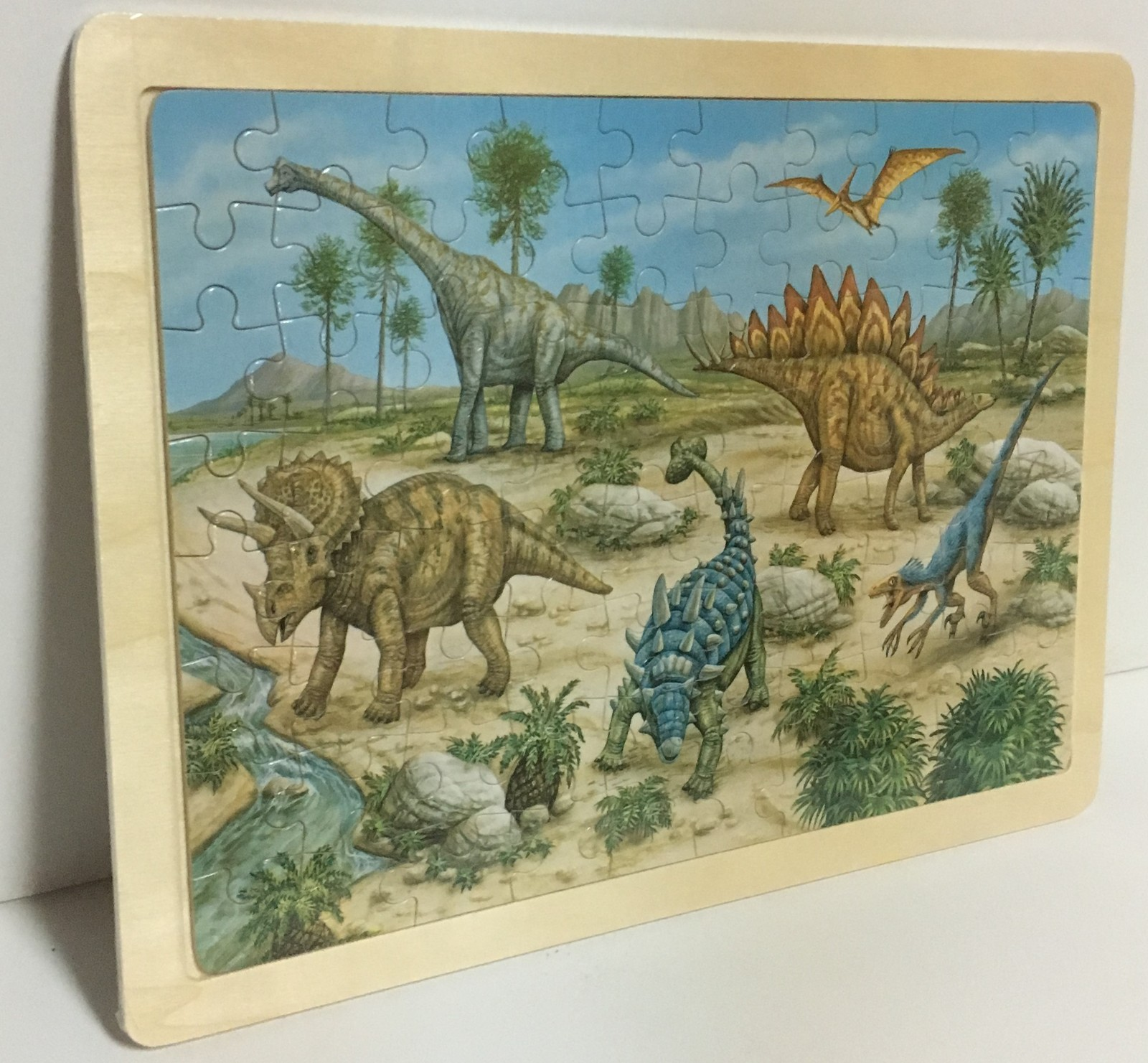 "Hands Craft Wood Frame Dinosaurs Jigsaw Puzzle 80 Piece 9"" x 12"" Ages 5+"