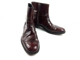 Vtg Florsheim Imperial Men's Boots Maroon Red Patent Leather Zip Up Shoe... - $98.82