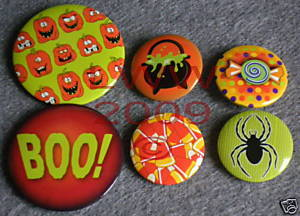 6 New Witchy Halloween Candy Lapel Button Pins