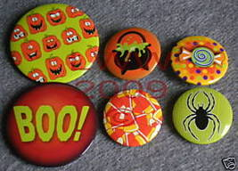 6 New Witchy Halloween Candy Lapel Button Pins - $5.99