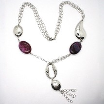 Silver 925 Necklace, Jade Purple, Chain Multiple Strings, Pendant Cascade, Drop image 2
