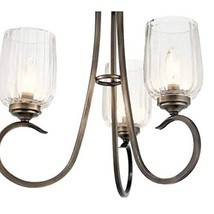 Kichler Chesterlyn 3-Light Vintage Tuscan Ribbed Glass Shaded Mini Chand... - $120.46
