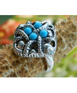 Vintage 1973 Avon Ring Sierra Faux Turquoise Si... - $15.95