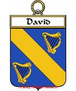 DAVID French Coat of Arms Print DAVID Family Crest - $25.00