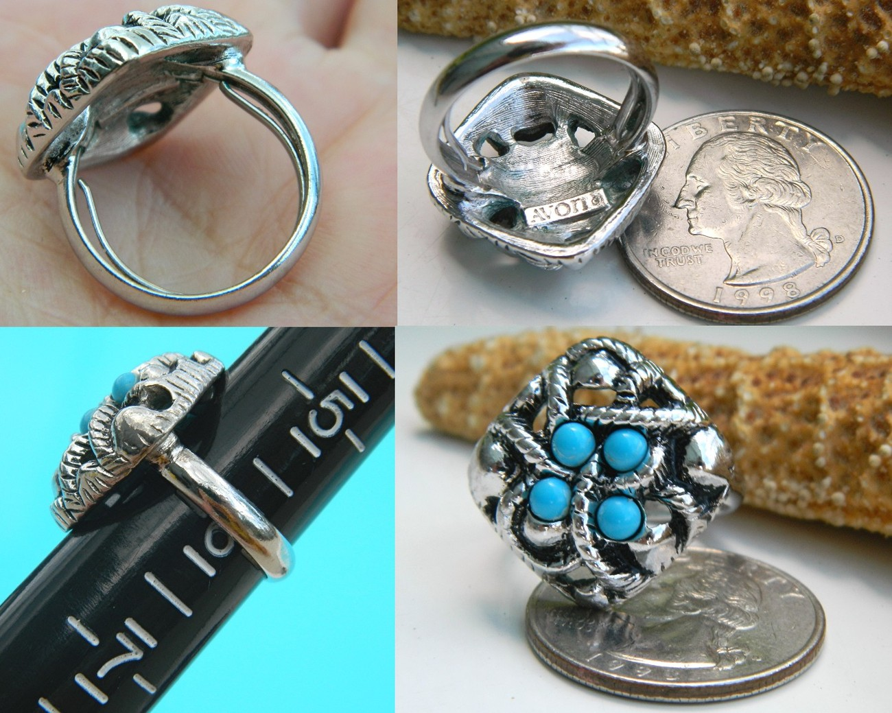 Vintage 1973 Avon Ring Sierra Faux Turquoise Silver Org