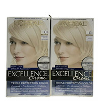 2 -L'OREAL Excellence Creme Permanent 01 Extra Light Ash Blonde - $18.80