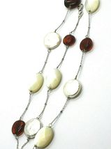18K WHITE GOLD NECKLACE, ALTERNATE AMBER, PEARL DISC AND OVAL MOTHER OF PEARL image 3