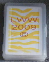 Yellow & white zebra-striped playing cards in case NEW - $3.99