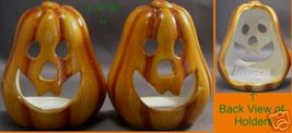 2 Skinny Pumpkin Jack-o-lantern Tea Candle Holders Halloween - $6.99